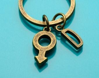 Male Symbol Keychain, Bronze Male Symbol Key Ring, Male Gender, Initial Keychain, Personalized Keychain, Custom Keychain, 533
