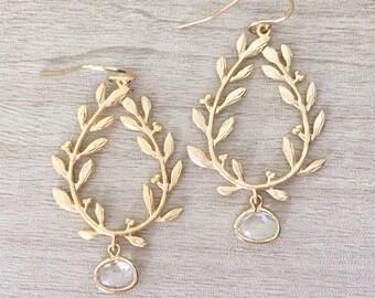 LAUREL | Laurel Wreath Earrings | Gold Leaf Earrings | Gold Leaf Teardrop Earrings | Bridesmaid Earrings | Dangle Earrings | Bridal Earrings