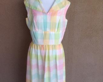 1950s Pastel Plaid Vickie Marie Dress