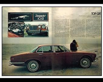 """Vintage Print Ad July 1973 : Jaguar XJ-12 Car Automobile 2 Page Advertisement Wall Art Decor Color 16"""" x 11"""""""