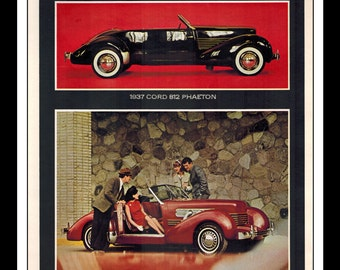 """Vintage Print Ad May 1965 : Classic Car Revival Cord Sportsman Mercedes 3 Page Automobile Car Wall Art Decor 8.5"""" x 11"""" each Advertisement"""