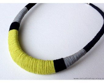 Bib necklace, statement necklace, dark blue and lime yellow necklace, tribal necklace, neon necklace, gray necklace