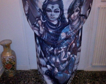 Long Hindu Printed Kimono with pearl