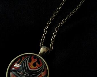 baphomet on fire satanic pendant necklace