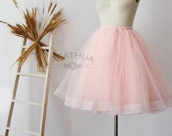 Blush Pink Horsehair Tulle Skirt/Short Women Skirt/TUTU Tulle Skirt/Wedding Bridal Bridesmaid Skirt/Knee Length Bachelorette party Skirt