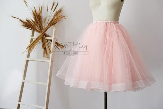 Light Gray Bridesmaid Dresses Knee Length Soft Tulle: Blush Pink Horsehair Tulle Skirt/Short Women Skirt/TUTU Tulle