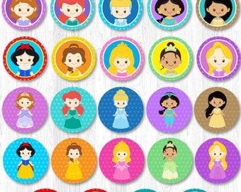 Disney Princess Cupcake Toppers, Princess Cupcake topper, Princess cupcake wrapper
