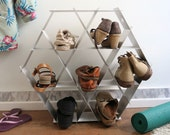 Geometric shelving unit - Shoe storage- Metal shelving - Bookshelf- Hexagon shelves- DIY furniture- Honeycomb shelves- Geometric furniture