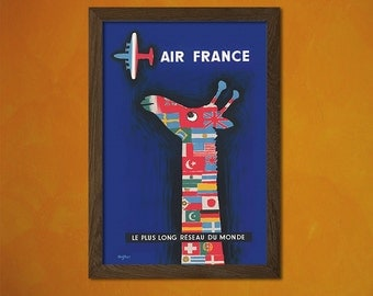 Quality Poster -  Air France Poster 1956 - Vintage Tourism Travel Poster Advertising Retro Art Reproduction Office decoration  t