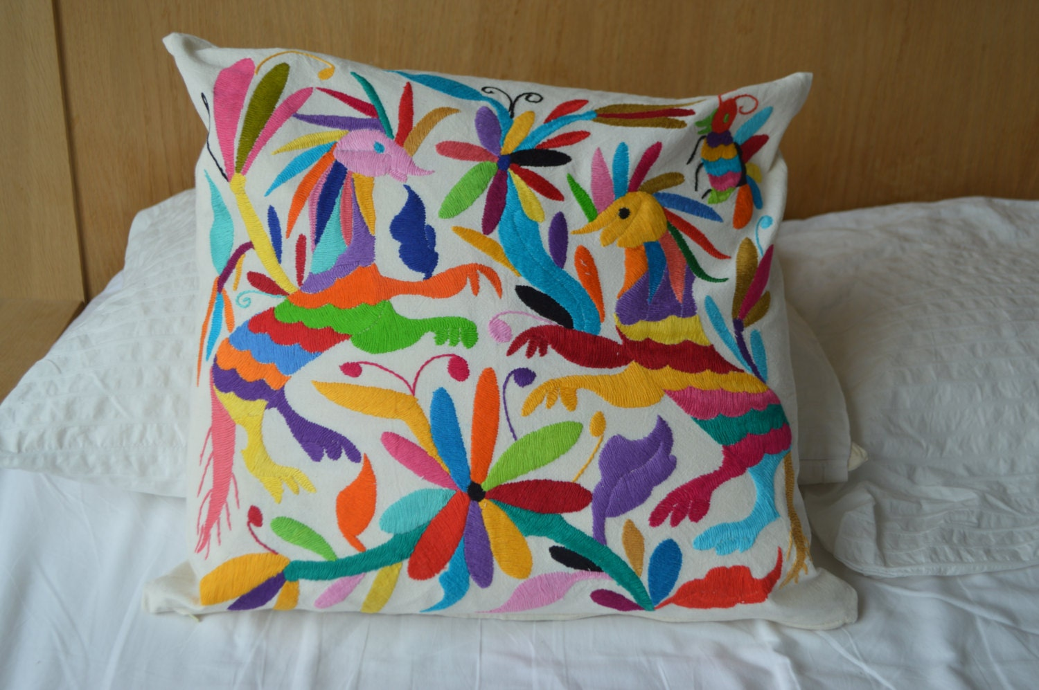 Otomi mexican pillow cover organic pillowcase by otomimexico Mexican embroidered bedding