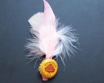 Pink feather boutonniere, bottle cap boutonniere