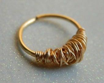 SEPTUM RING - Rose Gold Septum Ring - delicate septum - nose jewelry - septum piercing