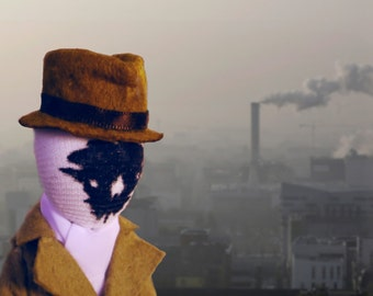 Rorschach doll from The Watchmen comics by Alan Moore