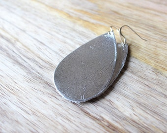 Metallic Silver Leather Earrings Sterling Silver/Gold Plated Hooks