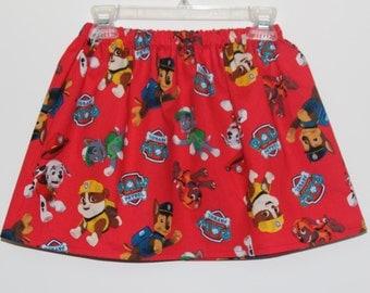 Girls Skirt, Baby Girl Skirt, Toddler Skirt Paw Patrol Skirt Red
