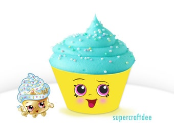 "1 1/2"" Cupcake Queen Cupcake Wrapper - Shopkins Birthday Party"