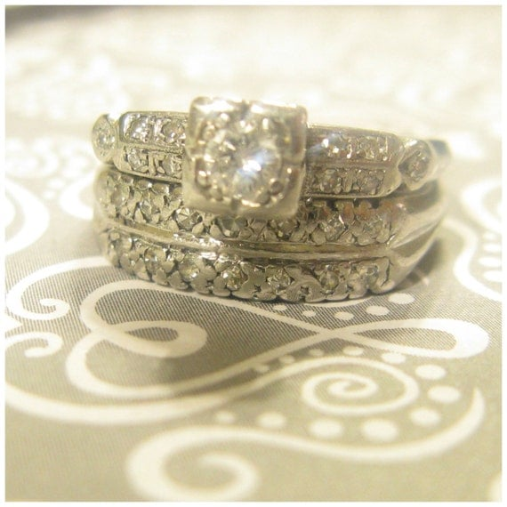 SALE 300 Dollars OFF Art Deco Platinum Bridal Set Engagement