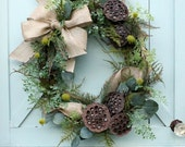 Burlap Bow Wreath ~ Dried Seed Pod Wreath ~ Year Round Wreath