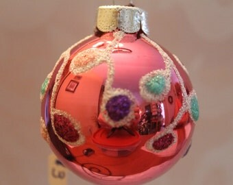 Rose Pink Ornament with Multi Color Decorations #516