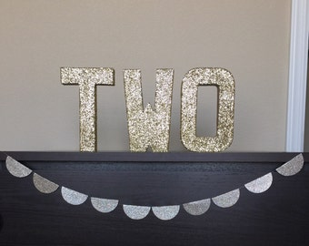 "Gold Silver Glitter Paper Mache Stand Up ""TWO"" Letter Sign - 2nd Birthday -Anniversary - Party Decor - Photo Prop - Decoration -CUSTOMIZABLE"