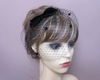 Black birdcage veil wedding funeral fascinator formal veil with velvet bow retro bridal party 1940's 1950's vintage style headpiece