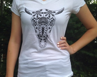 SALE!!! Women's white, v-neck buffalo skull tee