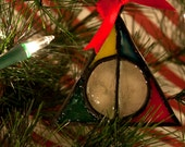 Deathly Hallows Faux Stained Glass Christmas Ornament with all Hogwarts House Colors- Hufflepuff, Slytherin, Griffindor, Ravenclaw