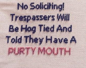 No trespassing cross stitch