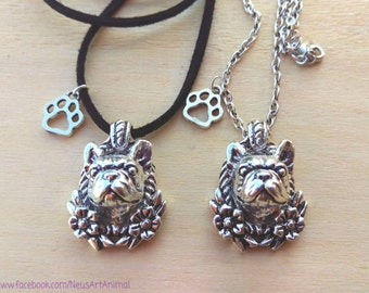 French Bulldog necklace, pendant with paw