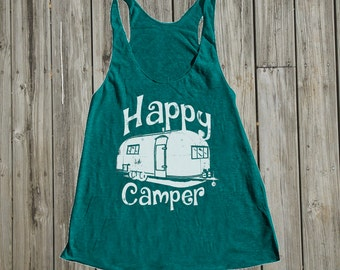 Camping shirt. Summer gifts. Most Popular womens fashion. August trends. Summer time tank tops. Mid century. Retro. Happy Camper. Airstream
