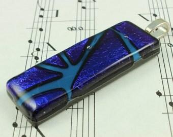 Dichroic Glass Pendant, Blue Violet - Mosaic Design Necklace - Bright Electric Blue on Steel Blue - includes Black Satin cord necklace
