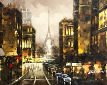 """Rainy Streets of Paris. 24"""" x 36"""" Handpainted oil on canvas stretched"""