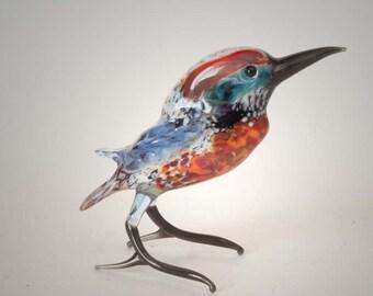 Hand-Blown Art Glass Kingfisher Figurine (code 178)
