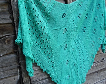Hand knit in mint shawl lace,hand knitted womens lace shawl, gift for her,hand knit shawl with leaves, women accessories