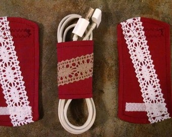 3 Cord Wraps, Cord Holders