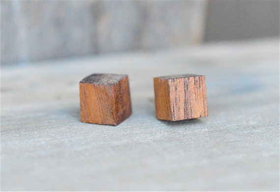 Wood Earrings Tiny Wood Cube Earrings Wood Studs Wood Post