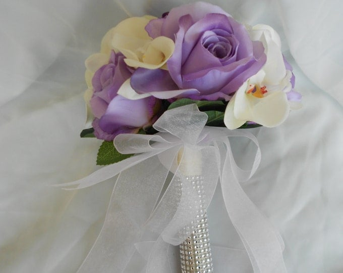 Lavender roses and ivory orchids bouquet with faux  wrap stems  2 pc