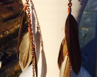 Grey/Brown Feather Earrings, Natural Feathers, Long Feather Earrings