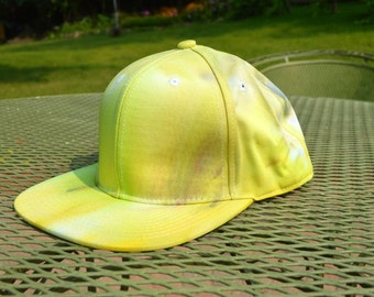 Yellow Hand Dyed Snapback Hat