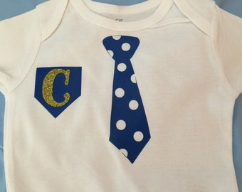 Baby Boy Polka Dot Bow or Tie Onesies with Monogrammed Initial!!! So Cute!! Great Gift!!