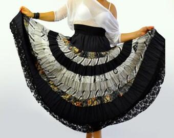 Cotton long extravagant skirt/Gypsy black and white skirt/Woman skirt flounces/Ruffles Long skirt/Bohemian skirt/Handmade skirt/day skirt