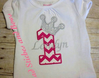 Custom embroidered first birthday with crown/ Number 1 with crown