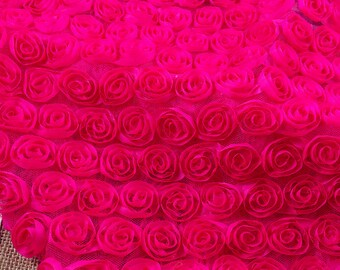 Flower Fabric 3D Rose Lace Fabric Rosy Flower Chiffon Flower Lace Dress Gauze Tulle L12 ( 1/2 yard)