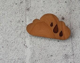Cloud - laser cut cherry wood brooch