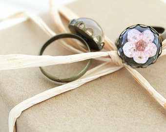Pink Plum Blossom Resin Ring - Pressed Flower Encased in Resin, cabochon Ring, Handmade Jewelry