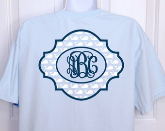 Monogrammed T-Shirt With Whales Pattern.  Available In Long Sleeve (Limited Colors - Refer To Color Chart) And Short Sleeve