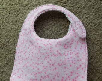 Terry Cloth Baby Bib with Pink Stars
