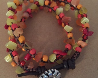 Double leather wrap bracelet, Orange Red Yellow Silver plated flower button, Sunflower