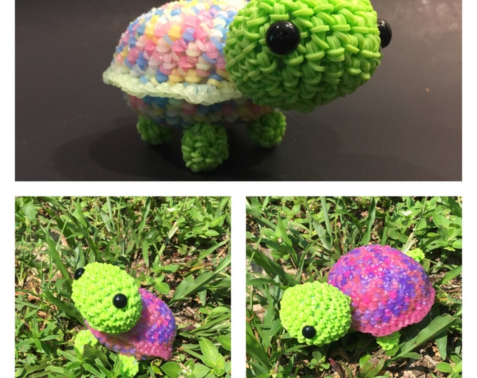 Cute Little Color Changing Turtle Rubber Band Figure, Rainbow Loom Loomigurumi, Rainbow Loom Animal