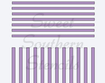 Horizontal and Vertical Stripes/Gingham Pattern Stencil